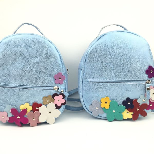 Rucsac copii bleu sidef - floricele colorate